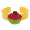 Yellow, Light Green, Deep Pink Acrylic, Austrian Crystal Cupcake Cuff Bracelet - 19cm L