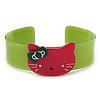 Salad Green, Magenta Acrylic 'Kitty' Cuff Bracelet - 19cm L