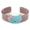 Beige, Light Blue Acrylic 'Kitty' Cuff Bracelet - 19cm L