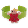 Light Green, Deep Pink, Light Pink Crystal Acrylic 'Gingerbread Girl' Cuff Bracelet - 19cm L