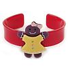 Deep Pink, Purple, Yellow Crystal Acrylic 'Gingerbread Girl' Cuff Bracelet - 19cm L