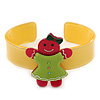 Light Green, Deep Pink, Yellow Crystal Acrylic 'Gingerbread Girl' Cuff Bracelet - 19cm L
