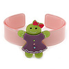 Light Pink, Purple, Light Green Crystal Acrylic 'Gingerbread Girl' Cuff Bracelet - 19cm L