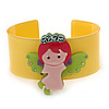 Yellow, Light Green, Pink Acrylic, Austrian Crystal Wide Angel Cuff Bracelet - 19cm L
