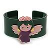 Dark Green, Pink, Purple Acrylic, Austrian Crystal Wide Angel Cuff Bracelet - 19cm L