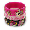 PINK COOKIE IN BOX Set Of Three Deep Pink, Black, Light Pink, Acrylic Slip-On Bangles - 18cm L