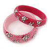 PINK COOKIE IN BOX Set Of Two Pink, Skull, Acrylic Slip-On Bangles - 18cm L
