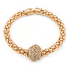 Gold Tone Mesh Flex Bracelet With 18mm Crystal Ball - All Sizes