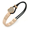 Clear Crystal Heart Bangle Bracelet With Black Silk Stretch Cord In Gold Tone - 18cm L