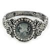Vintage Inspired Crystal Cameo Hinged Bangle Bracelet In Burnt Silver Tone - 19cm L