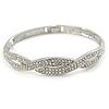 Clear Crystal 'Plaited' Bangle Bracelet In Silver Tone - 18cm L