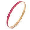 Thin Pink Enamel Bangle Bracelet In Gold Plating - 19cm L