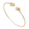 'Two Hands' Crystal Thin Gold Plated Bangle Bracelet - Adjustable