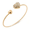 'Double Heart' Crystal, Twisted, Gold Plated Cuff Bracelet - Adjustable