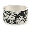 Vintage Inspired Wide Black/ White Floral Print Hinged Bangle Bracelet In Silver Tone - 19cm L