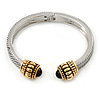 Vintage Inspired Textured Hinged Bangle In Silver/ Gold Tone - 18cm L