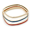 Set Of 3 White/ Red/ Blue Enamel Square Slip-On Bangle In Gold Plating - 19cm Length