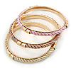 Set Of 3 Cream/ Beige/ Pink Silk Twisted Cord Slip-On Bangle In Gold Plating - 19cm Length