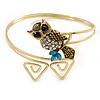 Vintage Inspired Crystal Owl Upper Arm, Armlet Bracelet In Burnt Gold Tone - 27cm L - Adjustable