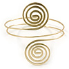 Egyptian Style Swirl Upper Arm, Armlet Bracelet In Gold Plating - 28cm L