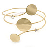 Polished Gold Tone Triple Circle Upper Arm, Armlet Bracelet - 27cm L