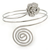 Rhodium Plated Crystal Flower and Swirl Circle Upper Arm, Armlet Bracelet - 27cm L