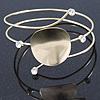 Polished Gold Tone Curved Disk, Crystal Upper Arm, Armlet Bracelet - 27cm L
