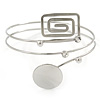 Silver Tone Circle And Square Crystal Upper Arm/ Armlet Bracelet - 26cm L
