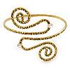 Vintage Inspired Hammered Twirl, Crystal Upper Arm, Armlet Bracelet In Antique Gold Plating - 27cm L - Adjustable
