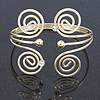 Greek Style Swirl Upper Arm, Armlet Bracelet In Gold Plating - 27cm L - Adjustable