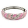Pink Enamel Crystal Hinged Bangle Bracelet In Silver Tone - 18cm L