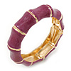 Plum Enamel Segmental Hinged Bangle Bracelet In Gold Plating - 19cm L