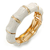 Whtie Enamel Segmental Hinged Bangle Bracelet In Gold Plating - 19cm L