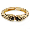 Vintage Inspired Double Heart Etched Hinged Bangle Bracelet In Gold Tone - 18cm L