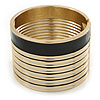 Wide Black/ White Enamel Stripy Hinged Bangle In Gold Plating - 19cm L