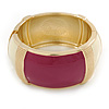 Chunky Cream/ Plum Enamel Hinged Bangle Bracelet In Gold Tone - 19cm L