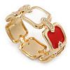 Cream/ Red Enamel Square, Crystal Hinged Bangle Bracelet In Gold Tone - 19cm L