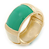 Chunky Cream/ Green Enamel Hinged Bangle Bracelet In Gold Tone - 19cm L
