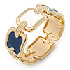 Navy Blue/ White Enamel Square, Crystal Hinged Bangle Bracelet In Gold Tone - 19cm L