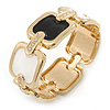 Black/ White Enamel Square, Crystal Hinged Bangle Bracelet In Gold Tone - 19cm L