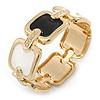 Black/ White Enamel Square, Crystal Hinged Bangle Bracelet In Gold Tone - 19cm L