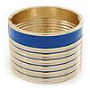 Wide Royal Blue/ White Enamel Stripy Hinged Bangle In Gold Plating - 19cm L