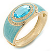 Aqua Blue Enamel Crystal Hinged Bangle Bracelet In Gold Plating - 18cm L