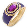 Purple Enamel Crystal Hinged Bangle Bracelet In Gold Plating - 18cm L