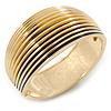 Royal Blue Enamel Ruffled Hinged Bangle Bracelet In Gold Plating - 19cm L
