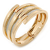 Gold Plated Bar With Silver Glitter Hinged Bangle Bracelet - 18cm L
