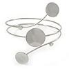 Polished Silver Tone Triple Circle Upper Arm, Armlet Bracelet - 27cm L