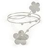 Silver Tone Double Flower Upper Arm, Armlet Bracelet - 27cm L