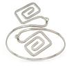 Polished Silver Tone Swirl Squares Upper Arm, Armlet Bracelet - 27cm L - Adjustable