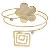 Gold Tone Flower And Square Crystal Upper Arm/ Armlet Bracelet - 26cm L